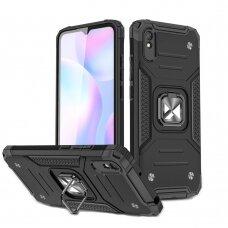 Dėklas Wozinsky Ring Armor Case Kickstand Tough Rugged Xiaomi Redmi 9A Juodas