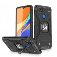 Dėklas Wozinsky Ring Armor Case Kickstand Tough Rugged Xiaomi Redmi 9C Juodas