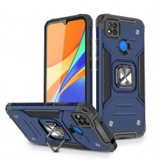 Dėklas Wozinsky Ring Armor Case Kickstand Tough Rugged Xiaomi Redmi 9C Mėlynas