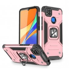 Dėklas Wozinsky Ring Armor Case Kickstand Tough Rugged Xiaomi Redmi 9C Rožinis