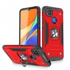 Dėklas Wozinsky Ring Armor Case Kickstand Tough Rugged Xiaomi Redmi 9C Raudonas