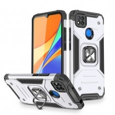 Dėklas Wozinsky Ring Armor Case Kickstand Tough Rugged Xiaomi Redmi 9C Sidabrinis