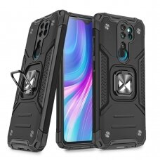Dėklas Wozinsky Ring Armor Case Kickstand Tough Rugged Xiaomi Redmi Note 8 Pro Juodas