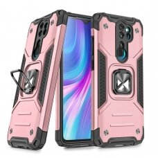 Dėklas Wozinsky Ring Armor Case Kickstand Tough Rugged Xiaomi Redmi Note 8 Pro Rožinis