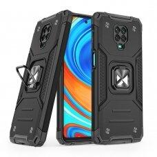 Dėklas Wozinsky Ring Armor Case Kickstand Tough Rugged Xiaomi Redmi Note 9 Pro / Redmi Note 9S Juodas