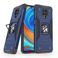 Dėklas Wozinsky Ring Armor Case Kickstand Tough Rugged Xiaomi Redmi Note 9 Pro / Redmi Note 9S Mėlynas