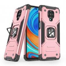 Dėklas Wozinsky Ring Armor Case Kickstand Tough Rugged Xiaomi Redmi Note 9 Pro / Redmi Note 9S Rožinis