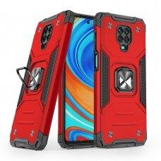 Dėklas Wozinsky Ring Armor Case Kickstand Tough Rugged Xiaomi Redmi Note 9 Pro / Redmi Note 9S Raudonas