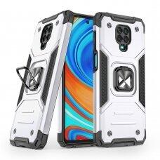Dėklas Wozinsky Ring Armor Case Kickstand Tough Rugged Xiaomi Redmi Note 9 Pro / Redmi Note 9S Sidabrinis