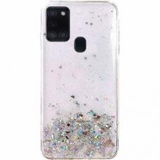 Wozinsky Star Glitter Blizgus Dėklas Samsung Galaxy A21S Skaidrus