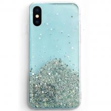 Blizgus TPU dėklas Wozinsky Star Glitter iPhone XS/ X mėlynas