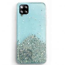 Blizgus TPU dėklas Wozinsky Star Glitter Samsung Galaxy A12 mėlynas