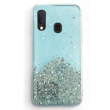 Blizgus TPU dėklas Wozinsky Star Glitter Samsung Galaxy A30 mėlynas