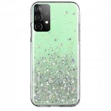 Blizgus TPU dėklas Wozinsky Star Glitter Samsung Galaxy A32 4G žalias