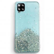 Blizgus TPU dėklas Wozinsky Star Glitter Samsung Galaxy A42 5G mėlynas