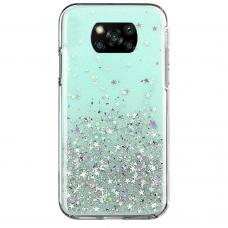 Blizgus TPU dėklas Wozinsky Star Glitter Xiaomi Poco X3 NFC žalias