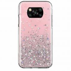 Blizgus TPU dėklas Wozinsky Star Glitter Xiaomi Poco X3 NFC rožinis