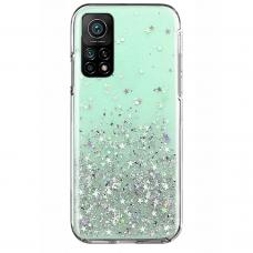 Blizgus TPU dėklas Wozinsky Star Glitter Xiaomi Redmi Note 10 /Note 10S žalias