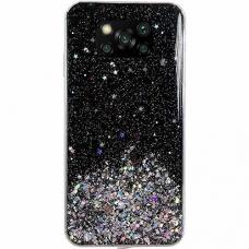 Blizgus TPU dėklas Wozinsky Star Glitter Xiaomi Redmi Note 9T 5G juodas