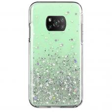 Blizgus TPU dėklas Wozinsky Star Glitter Xiaomi Redmi Note 9T 5G žalias