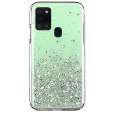 Blizgus TPU dėklas Wozinsky Star Glitter Samsung Galaxy M21 žalias