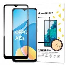 Ekrano Apsauginis Stiklas Su Rėmeliu, tinka su dėklu Wozinsky Tempered Glass Full Glue Super Tough Screen Protector Oppo A15s / A15 Juodas