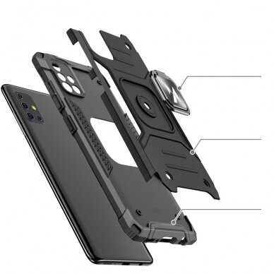 Dėklas Wozinsky Ring Armor Case Kickstand Tough Rugged Samsung Galaxy A51 5G Sidabrinis 4