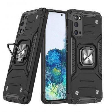 Dėklas Wozinsky Ring Armor Case Kickstand Tough Rugged Samsung Galaxy S20 Juodas