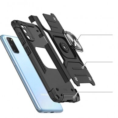 Dėklas Wozinsky Ring Armor Case Kickstand Tough Rugged Samsung Galaxy S20 Juodas 3