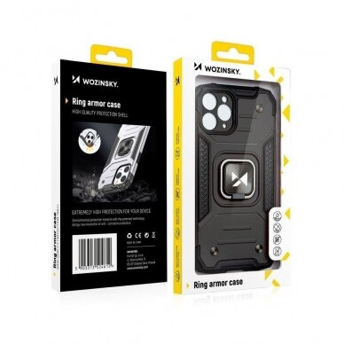Dėklas Wozinsky Ring Armor Case Kickstand Tough Rugged Samsung Galaxy S20 Juodas 8
