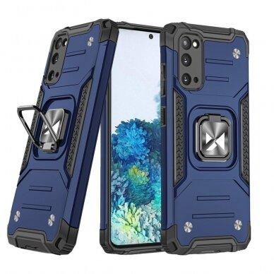 Dėklas Wozinsky Ring Armor Case Kickstand Tough Rugged Samsung Galaxy S20 Mėlynas