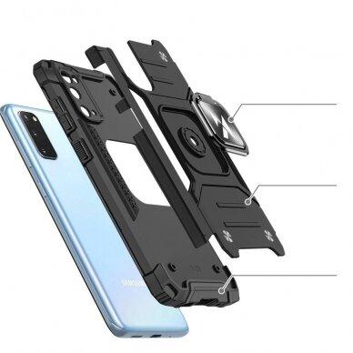 Dėklas Wozinsky Ring Armor Case Kickstand Tough Rugged Samsung Galaxy S20 Mėlynas 3