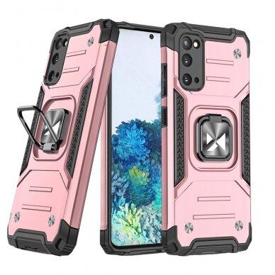 Dėklas Wozinsky Ring Armor Case Kickstand Tough Rugged Samsung Galaxy S20 Rožinis