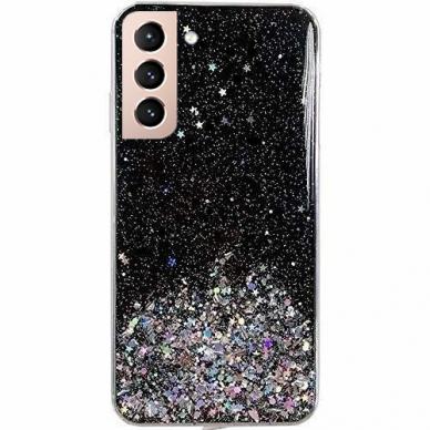 Dėklas Wozinsky Star Glitter Shining Samsung Galaxy S21+ 5G (S21 Plus 5G) Juodas