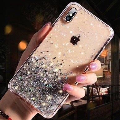 Dėklas Wozinsky Star Glitter Shining Samsung Galaxy S21+ 5G (S21 Plus 5G) Permatomas 13